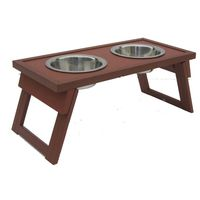 WOODEN FOLDABLE BOWL STAND WITH BOWLS-SMALL