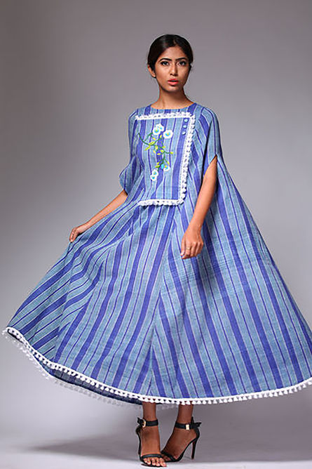 STRIPE BLUE CAPE DRESS
