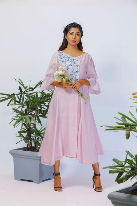 POWDER PINK VINTAGE MIDI DRESS, xs
