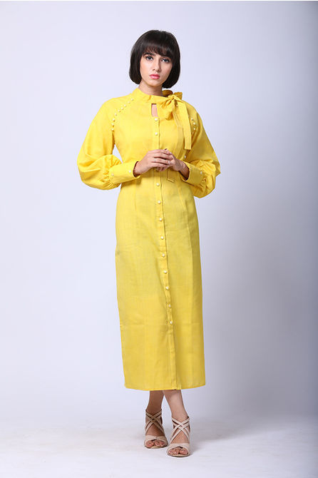 RETRO BOW TIE SHIRT DRESS, s m l xl