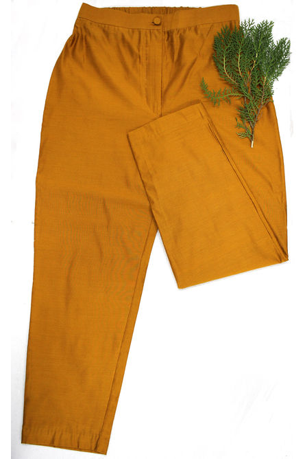YELLOW OCHRE SILK PANT