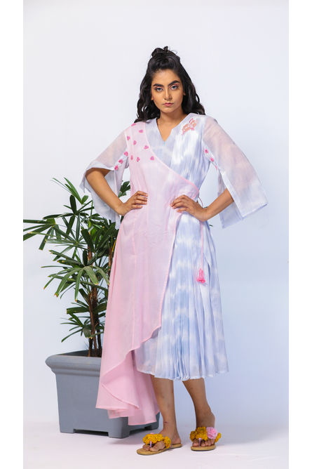 PINK & BLUE PLEATED LAYER DRESS