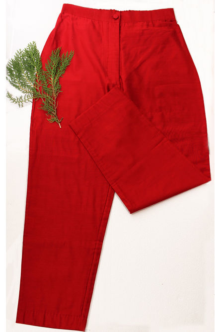 RED MORNING GLORY SILK PANT