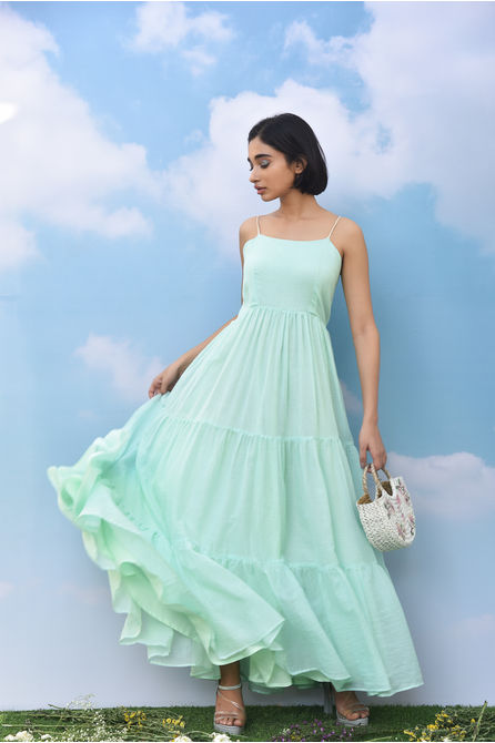 MINT GREEN TIERED MAXI DRESS, mint green, s