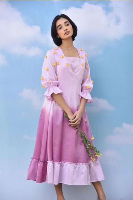MARSH FLORAL WRAP OVER DRESS