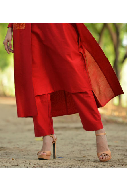 RED SILK PANT, s, red