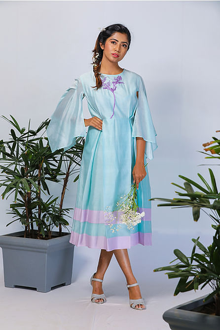 AQUA GREEN HANDKERCHIEF DRESS, l