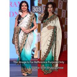 Kmozi Bollywood Replica Designer Saree, white and rama
