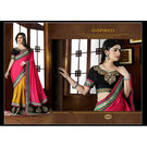 Kmozi New Designer Saree Buy Online, yelloe and pink