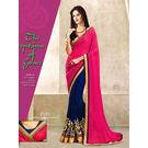 Kmozi Latest Designer Saree, pink and blue