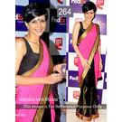 Kmozi Bollywood Replica Designer Saree, pink and black