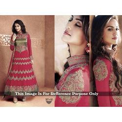 Kmozi Color Designer Anarkali Suit, pink