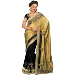 Kmozi New Fancy Designer Saree Online, golden and black