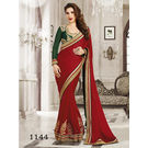 Kmozi Fancy Stylist Georgette Saree Buy Online Shopping, marron