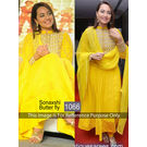 Kmozi Sonaxshi Gorgette Anarkali Suit, yellow