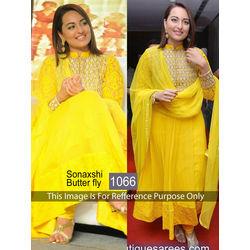Kmozi Sonaxshi Gorgette Anarkali Suit, yellow