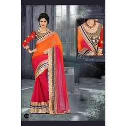 Kmozi Fancy Designer Embroide Saree Buy Online, pink and orange