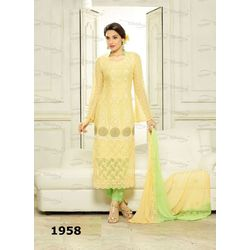 Kmozi Pure Chiffon Embroidery Work Dress Material, green and yellow