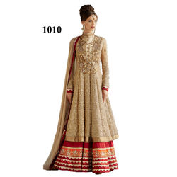 Kmozi Net Heavy Embroide Floor Touch Golden Anarkali Suit, red and cream