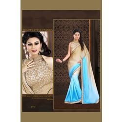 Kmozi Fancy Designer Saree Buy Online, skyblue and light coffee