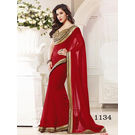 Kmozi Color Marbal Georgette Saree, red
