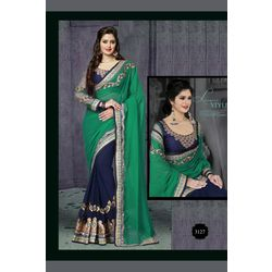 Kmozi Latest Fashion Saree Online, green and blue