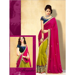 Kmozi New Designer Saree Buy Online, pink