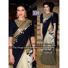 Kmozi Priyanka Galaxy Designer Saree, black and cream