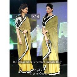 Kmozi Dipika Bollywood Replica Saree, light yellow