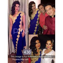 Kmozi Priyanka Craft Fancy Saree, blue