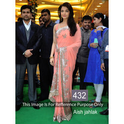 Kmozi Aish Jhalak Peach Fancy Style Saree, peach