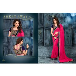 Kmozi Fancy Designer Embroide Saree Buy Online, pink