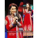 Kmozi Aishwarya Rai Gorgeous Embroide Georgette Dress Material- Online Shopping, red