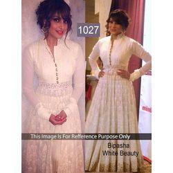 Kmozi Bipasha Beauty Designer Anarkali, white