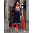 Kmozi Designer Dress Material, blue and orange
