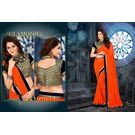 Kmozi Designer Saree Buy Online, orange