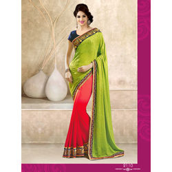 Kmozi Latest Fashion Saree Online, green and red