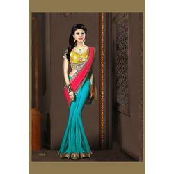 Kmozi New Designer Saree Buy Online, blue and pink