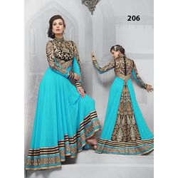 Kmozi Cyan Gorgeous Floor Touch Anarkali Suit, cyan