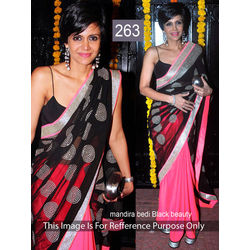 Kmozi Replica Mira Beauty Saree, pink and black