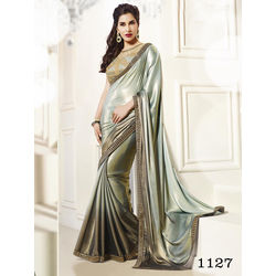 Kmozi Fancy Stylist Threadwork Saree Buy Online Shopping, grey