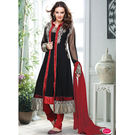 Kmozi Latest Long Serwani Style Jacket With Brocket Lace In Daman Anarkali Suit, black