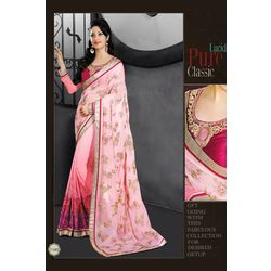 Kmozi Latest Georgette Saree With Embroide, light pink