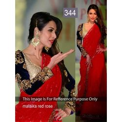 Kmozi Malika Rose Designer Saree, red
