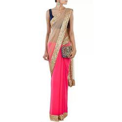 Kmozi Latest Half Net Saree Buy Online, pink