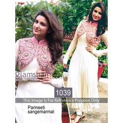 Kmozi Parineeti Georgette Anarkali, white