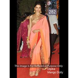 Kmozi Replica Dipika Mango Dolly Saree, pink and orange