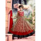 Kmozi Latest Gown Style Net Brasso Anarkali Suit, red