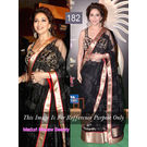 Kmozi Replica Madhuri Macaw Beauty Saree, black