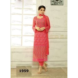 Kmozi Pure Chiffon Heavy Embroidery Work Dress Material, red